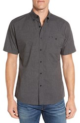 Brixton Men's 'Central' Trim Fit Short Sleeve Chambray Woven Shirt Heather Black