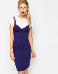 Love Moschino Sweetheart Dress With Strap Detail Navy