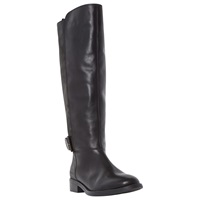 Dune Tinsley Buckle Knee High Leather Boots Black