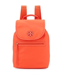 Nylon Flap Top Backpack Poppy Red Tory Burch