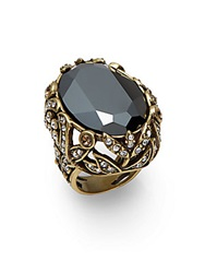 Heidi Daus Faceted Oval Ring Black Gold