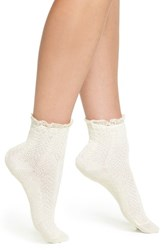 Peony And Moss Women's Lace Trim Ankle Socks Ivory
