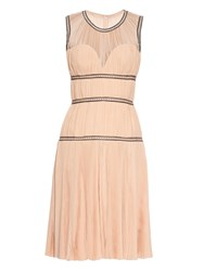 Alexander Mcqueen Plisse And Leather Sleeveless Dress