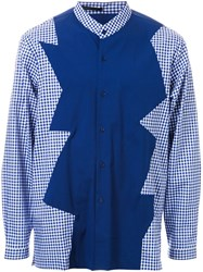 Christopher Kane Contrast Panel Check Shirt Blue