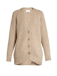 Ryan Roche Ribbed Knit Cashmere Cardigan Light Grey