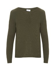 Raey Ribbed Knit Cotton Blend Sweater Khaki
