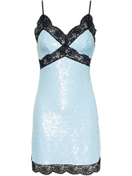 Ashish Sequin And Lace Slip Dress Blue