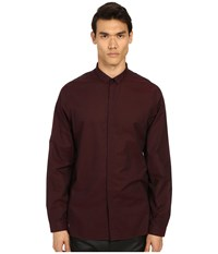 The Kooples Cotton Organza Shirt Burgundy Men's Long Sleeve Button Up
