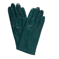 John Lewis Fleece Lined Leather Gloves Forest Green