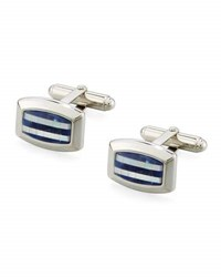 David Donahue Sodalite And Mother Of Pearl Striped Cuff Links Silver