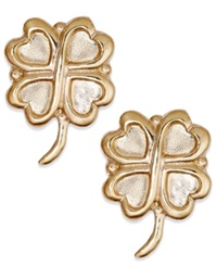 Macy's 10K Gold Earrings Four Leaf Clover Stud Earrings