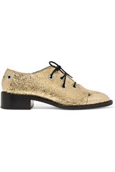 Proenza Schouler Metallic Crinkled Leather Brogues Gold