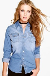 Boohoo Washed Western Denim Shirt Blue