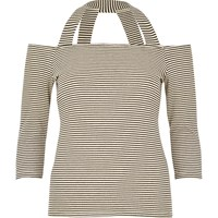 River Island Womens Black Stripe Strappy Bardot Top