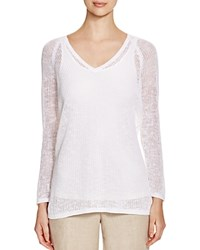 Eileen Fisher V Neck Sheer Sweater White