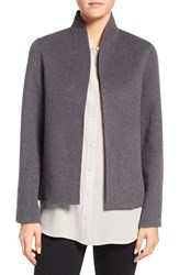 Eileen Fisher Women's Brushed Wool Blend Double Face High Collar Coat