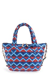 M Z Wallace Mz 'Medium Metro' Quilted Oxford Nylon Tote Blue Zig Zag