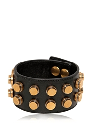 Saint Laurent Studded Leather Large Cuff Bracelet Black Gold