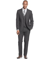 Unlisted By Kenneth Cole Black Grid Vested Slim Fit Suit