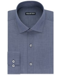 Unlisted By Kenneth Cole Men's Slim Fit Chambray Dress Shirt New Navy