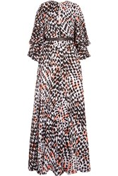 Issa Kaya Leopard Print Chiffon Maxi Dress Orange