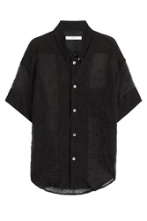Julien David Sheer Silk Blend Blouse Black