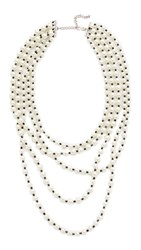 Kenneth Jay Lane Five Row Pearl Jet Necklace Light Cultura Pearls