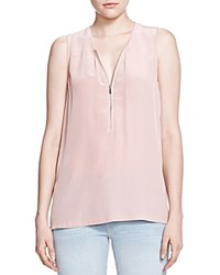 The Kooples Half Zip Silk Tank Beige