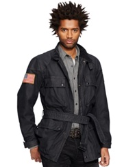 Denim And Supply Ralph Lauren Waxed Cotton Moto Jacket Polo Black