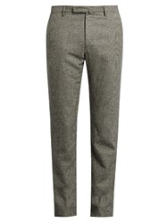 Incotex Slim Leg Hound's Tooth Flannel Trousers Grey Multi