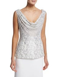 Carmen Marc Valvo Sleeveless Cowl Neck Embroidered Top White