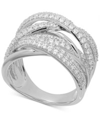 Macy's Arabella Swarovski Zirconia Woven Look Statement Ring In Sterling Silver