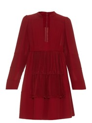 Valentino Open Neck Silk Georgette Dress Red
