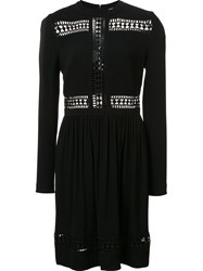 Nicole Miller Embroidered Panel Dress Black