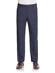Saks Fifth Avenue Straight Leg Plaid Wool Trousers Pastel Blue