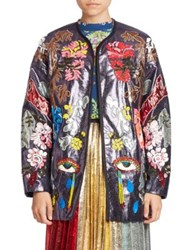 Romance Was Born Embroidered Open Front Long Sleeve Jacket Blue Multi