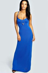 Boohoo Strappy Cross Over Back Maxi Dress Cobalt