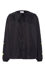 Cynthia Rowley Silk Applique Tie Blouse Black