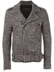 Route Des Garden Houndstooth Pattern Biker Jacket Black
