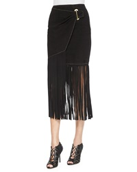 Tamara Mellon Long Fringe Wrap Skirt Black