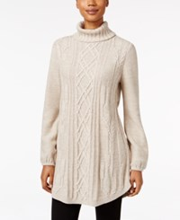 Styleandco. Style Co. Cable Knit Tunic Sweater Only At Macy's Hammock Heather Ivory