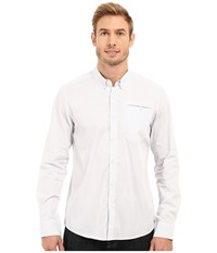 Kenneth Cole Long Sleeve Button Down Collar Besom Check Bayview Combo Men's Long Sleeve Button Up White