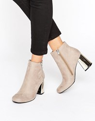 New Look Suedette Metal Heeled Ankle Boot Mid Grey