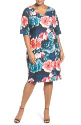 Eliza J Plus Size Women's Floral Print Sheath Dress Teal Red