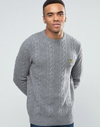 Lyle And Scott Crew Cable Knit Jumper Lambswool In Grey Marl Mid Grey