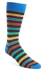 Bugatchi Men's Stripe Socks Chocolate