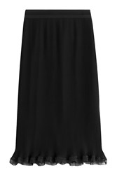 Carven Ribbed Pencil Skirt With Ruffle Black
