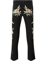 Christian Pellizzari Floral Embroidered Trousers Black