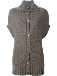 Eleventy Shortsleeved Buttoned Cardigan Brown