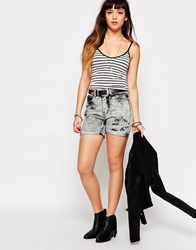 Glamorous Denim Shorts In Acid Wash Grey Acid Wash